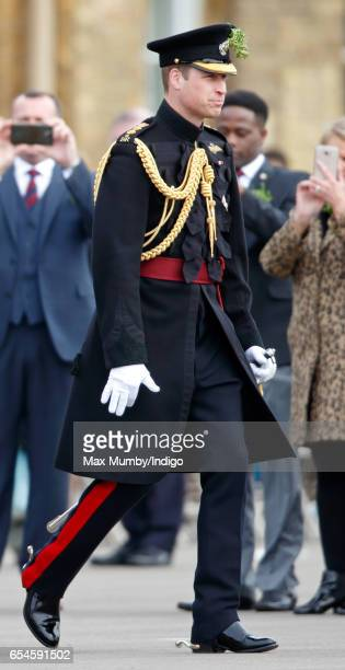 Prince William Duke of Cambridge attends the annual Irish Guards St Patrick's Day Parade at Cavalry Barracks on March 17 2017 in London England