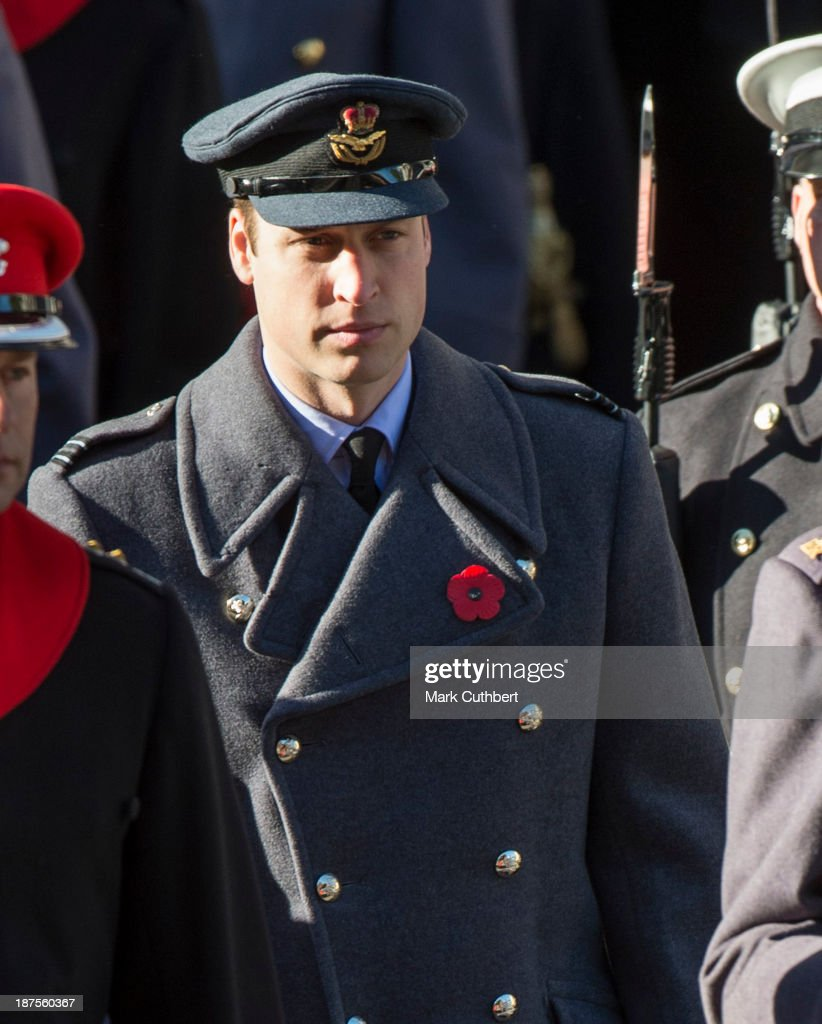 Prince William, Duke of Cambridge attends the annual Remembrance Sunday Service at the Cenotaph on Whitehall in London on November 10, 2013 in London, United Kingdom.