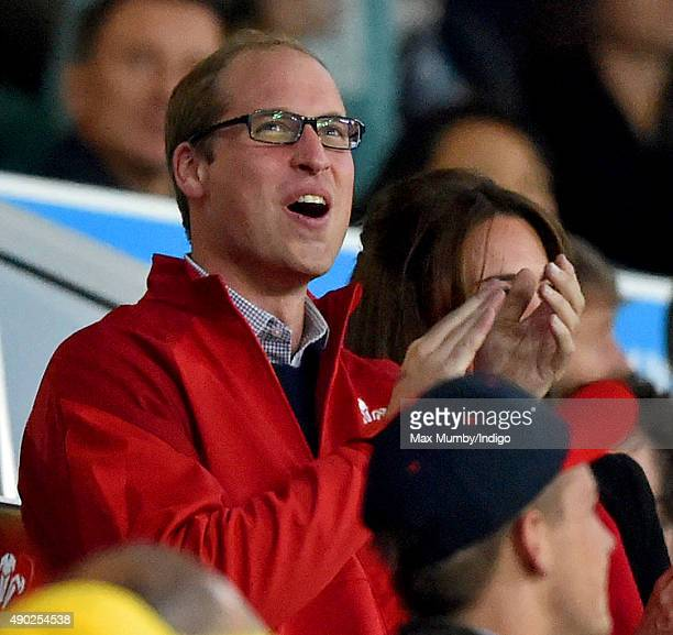 Prince William Duke of Cambridge attends the England v Wales match during the Rugby World Cup 2015 at Twickenham Stadium on September 26 2015 in...