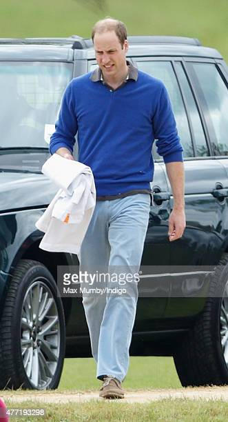 Prince William Duke of Cambridge attends the Gigaset Charity Polo Match at the Beaufort Polo Club on June 14 2015 in Tetbury England