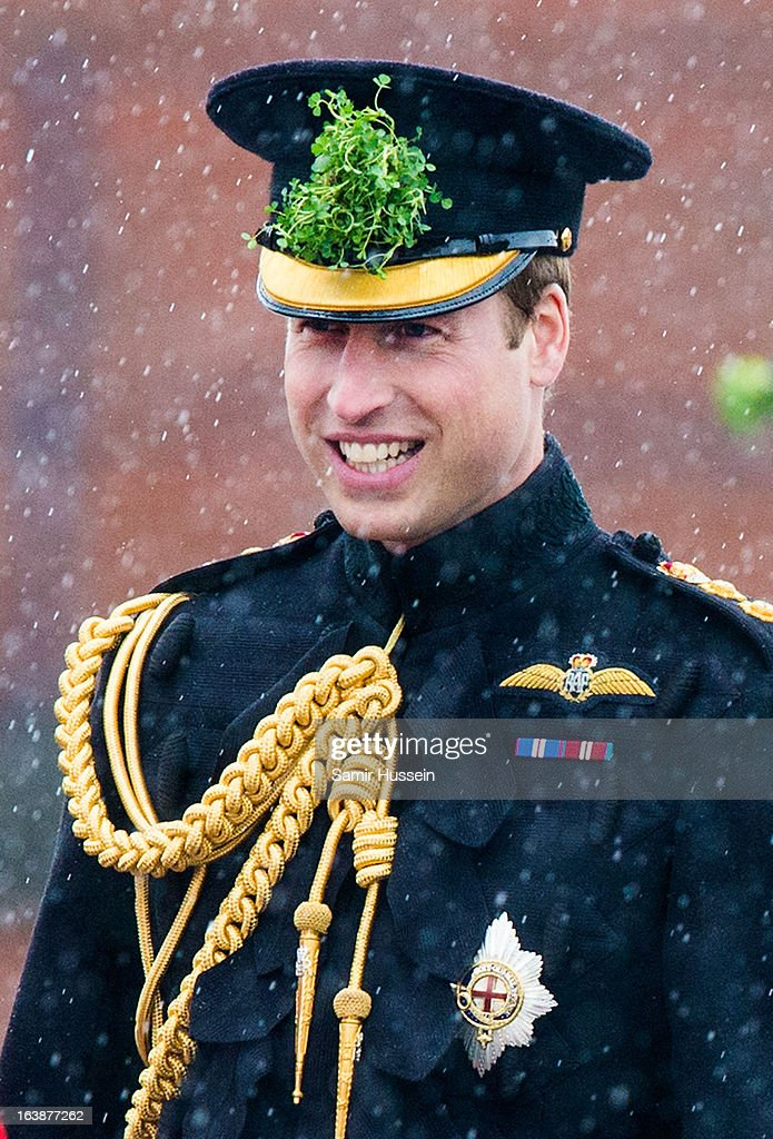 Prince William, Duke of Cambridge attends the Irish Guards' St Patrick's Day Parade at Mons Barracks on March 17, 2013 in Aldershot, England.