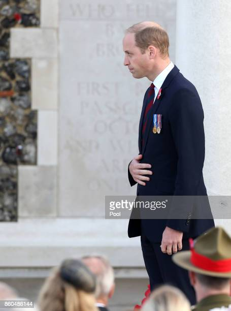 Prince William Duke of Cambridge attends the New Zealand national commemoration for the Battle of Passchendaele at Tyne Cot Cemetery on October 12...