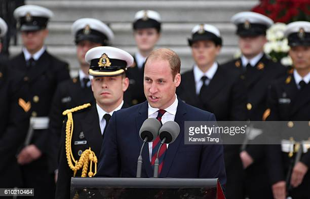 Prince William Duke of Cambridge attends the Official Welcome Ceremony for the Royal Tour at the British Columbia Legislature on September 24 2016 in...
