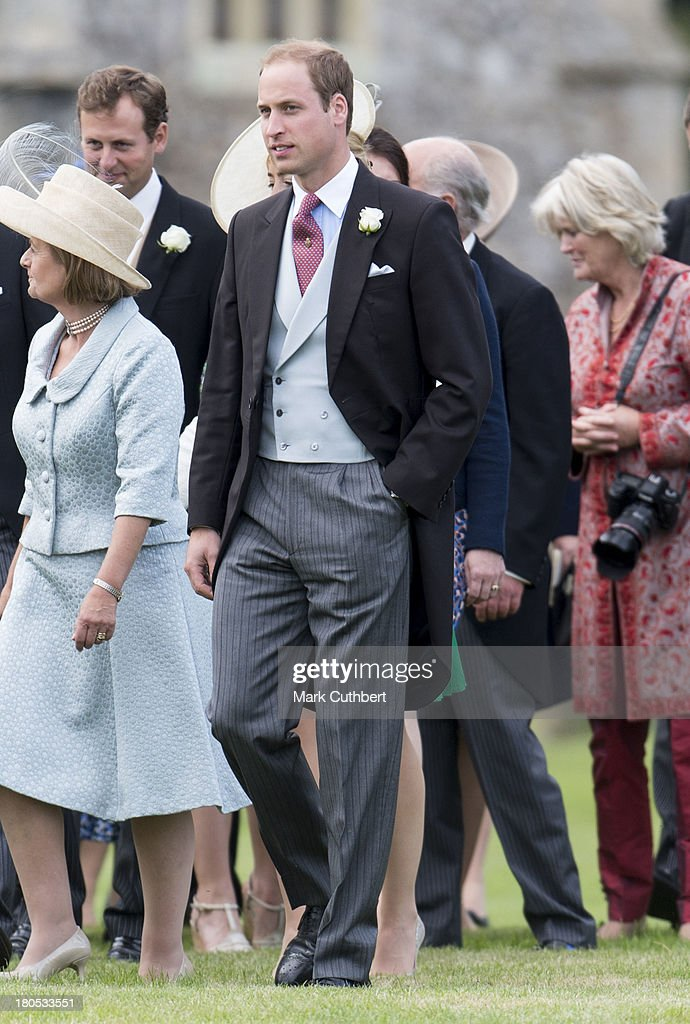 Prince William, Duke of Cambridge attends the wedding of James Meade and Lady Laura Marsham at The Parish Church of St. Nicholas in Gaytonon September 14, 2013 in King's Lynn, England.