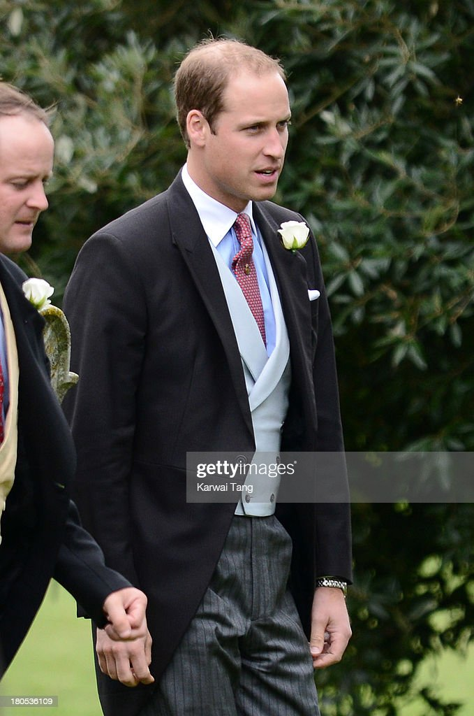 Prince William, Duke of Cambridge attends the wedding of James Meade and Lady Laura Marsham at The Parish Church of St. Nicholas in Gayton on September 14, 2013 in King's Lynn, England.