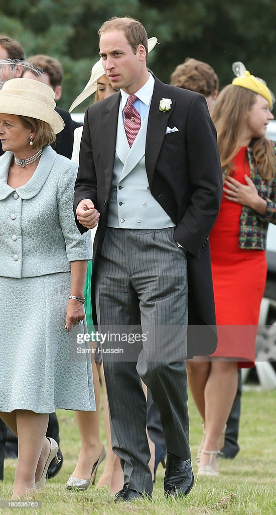 <a gi-track='captionPersonalityLinkClicked' href=/galleries/search?phrase=Prince+William&family=editorial&specificpeople=178205 ng-click='$event.stopPropagation()'>Prince William</a>, Duke of Cambridge attends the wedding of James Meade and Lady Laura Marsham at the parish church of St Nicholas in Gayton on September 14, 2013 in King's Lynn, England.