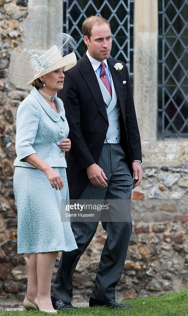 Prince William, Duke of Cambridge attends the wedding of James Meade and Lady Laura Marsham at the parish church of St Nicholas in Gayton on September 14, 2013 in King's Lynn, England.