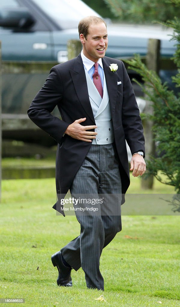 Prince William, Duke of Cambridge attends the wedding of James Meade and Lady Laura Marsham at the Parish Church of St. Nicholas in Gayton on September 14, 2013 near King's Lynn, England.