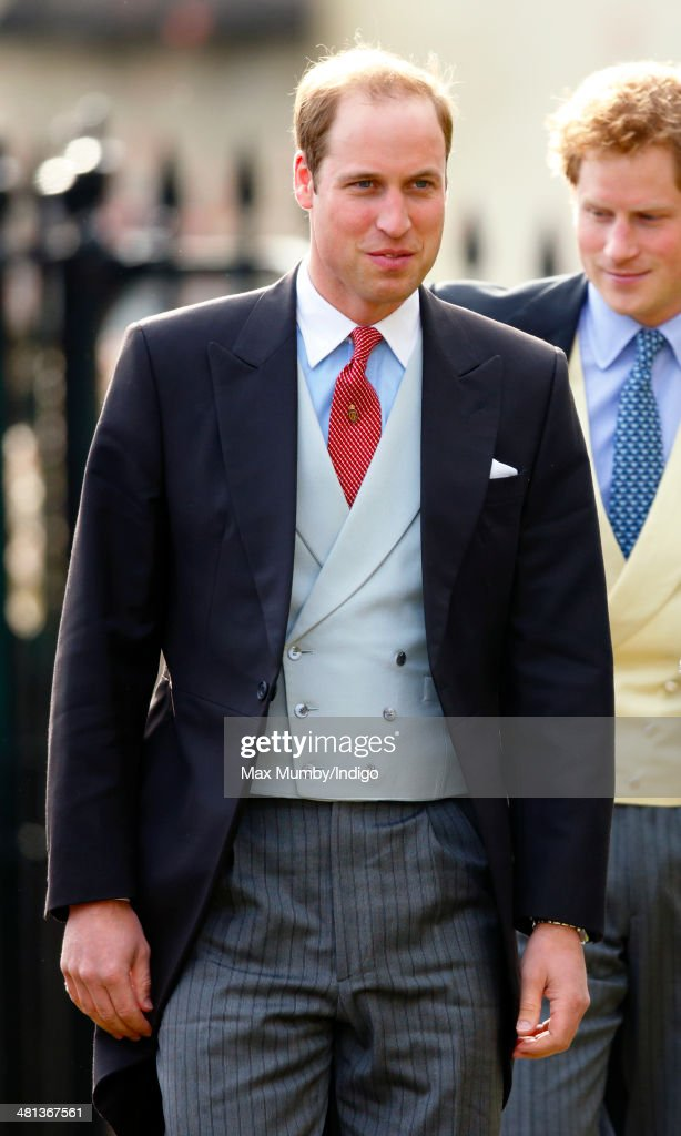 <a gi-track='captionPersonalityLinkClicked' href=/galleries/search?phrase=Prince+William&family=editorial&specificpeople=178205 ng-click='$event.stopPropagation()'>Prince William</a>, Duke of Cambridge attends the wedding of Lucy Meade and Charlie Budgett at the church of St Mary the Virgin, Marshfield on March 29, 2014 in Chippenham, England.