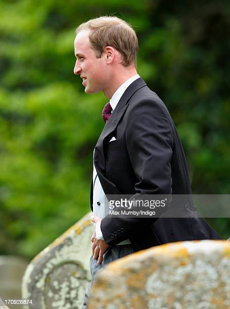 Prince William Duke of Cambridge attends the wedding of William van Cutsem and Rosie Ruck Keene at the church of St Mary the Virgin in Ewelme on May...