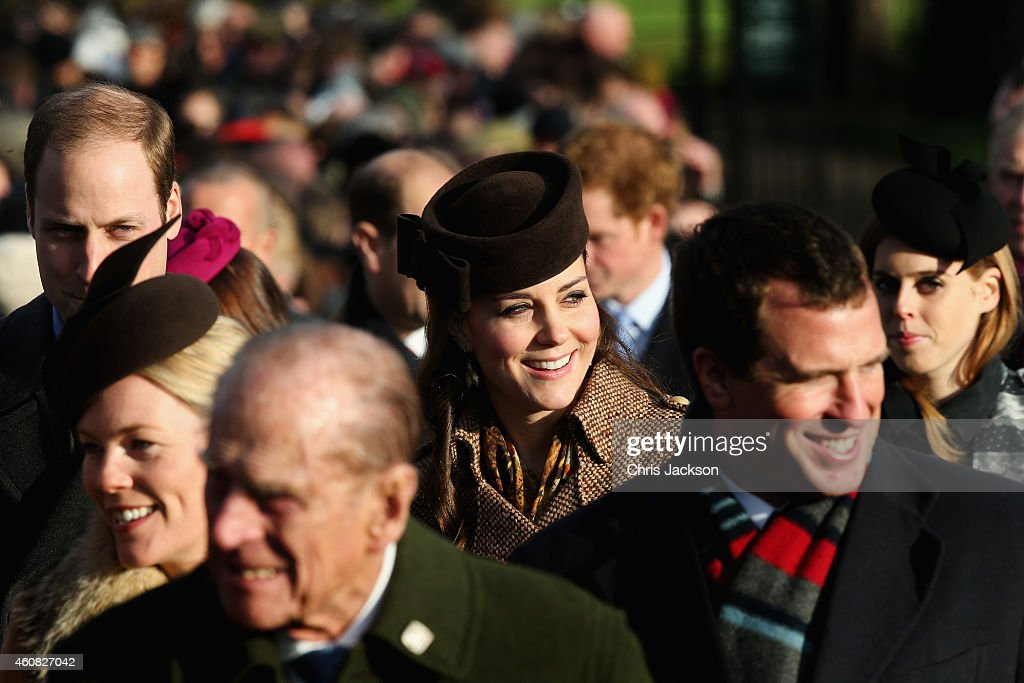 Prince William, Duke of Cambridge, Autumn Phillips, Prince Phillip, Duke of Edinburgh, Catherine, Duchess of Cambridge, Peter Phillips and Princess Beatrice of York arrive for Christmas Day Service at Sandringham Church on December 25, 2014 in King's Lynn, England.