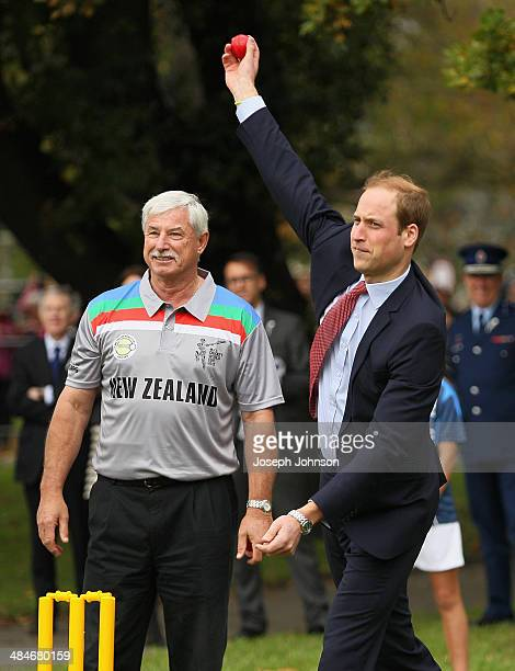 Prince William Duke of Cambridge bowling with Sir Richard Hadlee ICC Cricket World Cup 2015 Ambassador watching on during a game of cricket during...