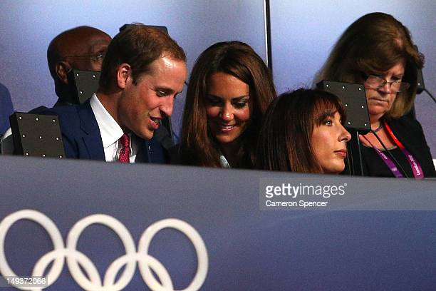Prince William Duke of Cambridge Catherine Duchess of Cambridge and Samantha Cameron watch on during the Opening Ceremony of the London 2012 Olympic...
