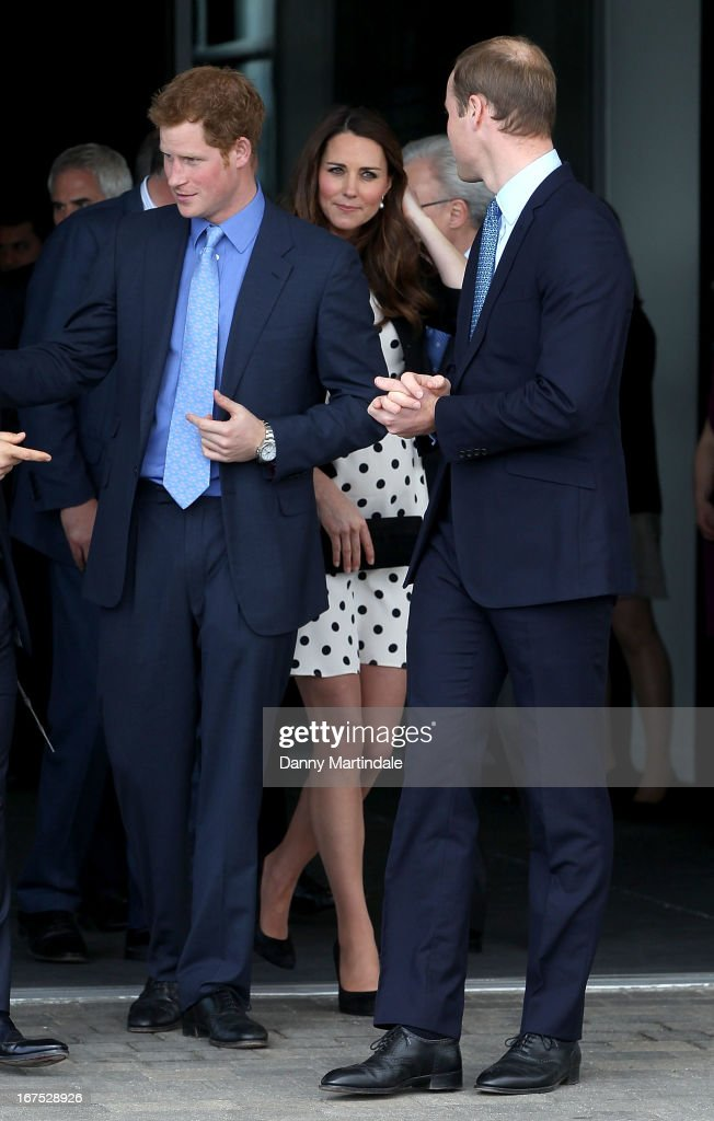 Prince William, Duke of Cambridge, Catherine, Duchess of Cambridge and Prince Harry attend the inauguration of Warner Bros. Studio Tour London on April 26, 2013 in Watford, England.