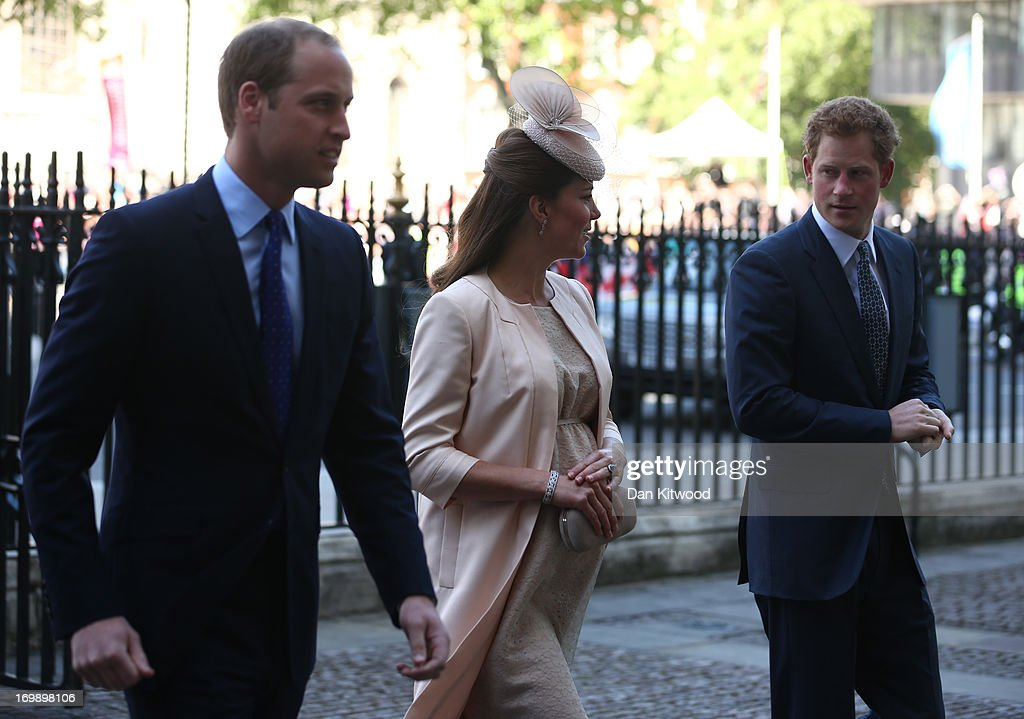 <a gi-track='captionPersonalityLinkClicked' href=/galleries/search?phrase=Prince+William&family=editorial&specificpeople=178205 ng-click='$event.stopPropagation()'>Prince William</a>, Duke of Cambridge, <a gi-track='captionPersonalityLinkClicked' href=/galleries/search?phrase=Catherine+-+Duchess+of+Cambridge&family=editorial&specificpeople=542588 ng-click='$event.stopPropagation()'>Catherine</a>, Duchess of Cambridge and <a gi-track='captionPersonalityLinkClicked' href=/galleries/search?phrase=Prince+Harry&family=editorial&specificpeople=178173 ng-click='$event.stopPropagation()'>Prince Harry</a> arrive for a service of celebration to mark the 60th anniversary of the Coronation Queen Elizabeth II at Westminster Abbey on June 4, 2013 in London, England. The Queen's Coronation took place on June 2, 1953 after a period of mourning for her father King George VI, following her ascension to the throne on February 6, 1952. The event 60 years ago was the first time a coronation was televised for the public.