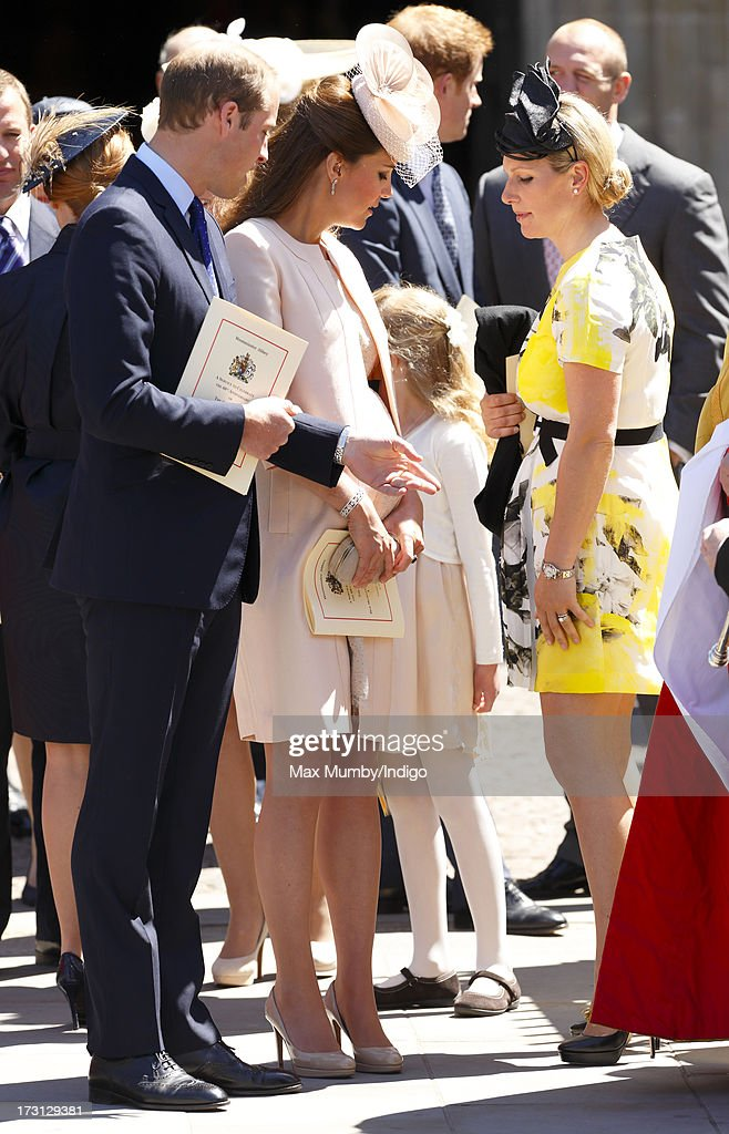 Prince William, Duke of Cambridge, Catherine, Duchess of Cambridge and Zara Phillips attend a service of celebration to mark the 60th anniversary of the Coronation of Queen Elizabeth II at Westminster Abbey on June 4, 2013 in London, England. The Queen's Coronation took place on June 2, 1953 after a period of mourning for her father King George VI, following her ascension to the throne on February 6, 1952. The event 60 years ago was the first time a coronation was televised for the public.