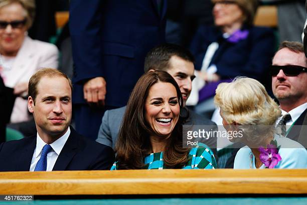 Prince William Duke of Cambridge Catherine Duchess of Cambridge and Gill Brook wife of AELTC Chairman Philip Brook in the Royal Box on Centre Court...