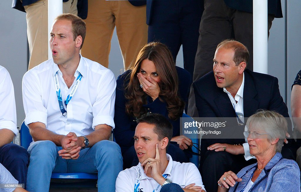 Prince William, Duke of Cambridge, Catherine, Duchess of Cambridge and Prince Edward, Earl of Wessex watch the Wales v Scotland Hockey match at the Glasgow National Hockey Centre during the 20th Commonwealth Games on July 28, 2014 in Glasgow, Scotland.