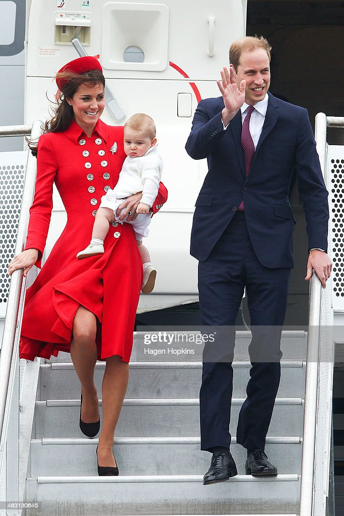 Prince William, Duke of Cambridge, <a gi-track='captionPersonalityLinkClicked' href=/galleries/search?phrase=Catherine+-+Hertiginna+av+Cambridge&family=editorial&specificpeople=542588 ng-click='$event.stopPropagation()'>Catherine</a>, Duchess of Cambridge and Prince George of Cambridge arrive at Wellington Airport on April 7, 2014 in Wellington, New Zealand. The Duke and Duchess of Cambridge are on a three-week tour of Australia and New Zealand, the first official trip overseas with their son, Prince George of Cambridge.