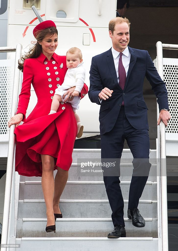 Prince William, Duke of Cambridge, <a gi-track='captionPersonalityLinkClicked' href=/galleries/search?phrase=Catherine+-+Hertiginna+av+Cambridge&family=editorial&specificpeople=542588 ng-click='$event.stopPropagation()'>Catherine</a>, Duchess of Cambridge and Prince George of Cambridge arrive at Wellington Airport's military terminal for the start of their tour on April 7, 2014 in Wellington, New Zealand. The Duke and Duchess of Cambridge are on a three-week tour of Australia and New Zealand, the first official trip overseas with their son, Prince George of Cambridge.