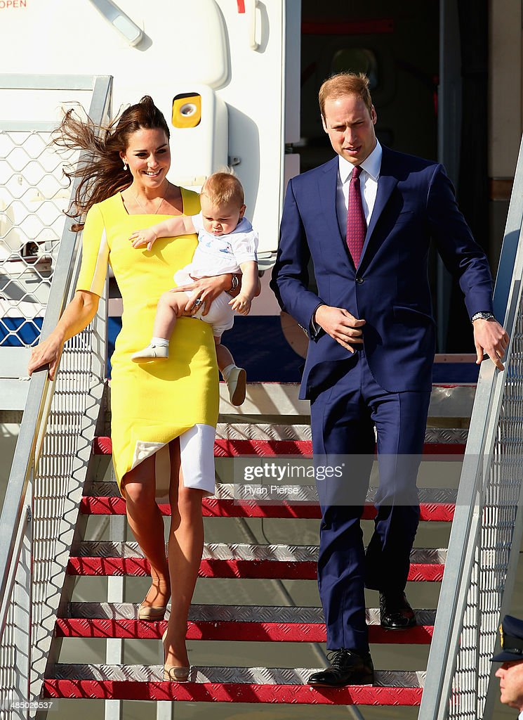 Prince William, Duke of Cambridge, Catherine, Duchess of Cambridge and Prince George of Cambridge arrive at Sydney Airport on RAAF B737 on April 16, 2014 in Sydney, Australia. The Duke and Duchess of Cambridge are on a three-week tour of Australia and New Zealand, the first official trip overseas with their son, Prince George of Cambridge.