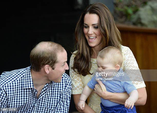 Prince William Duke of Cambridge Catherine Duchess of Cambridge and Prince George of Cambridge visit the Bilby Enclosure at Taronga Zoo on April 20...