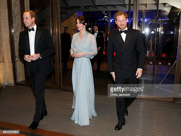 Prince William Duke of Cambridge Catherine Duchess of Cambridge and Prince Harry attend The Cinema and Television Benevolent Fund's Royal Film...