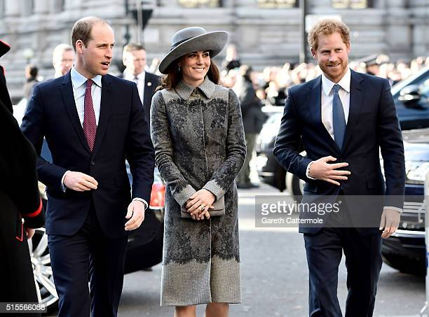 Prince William Duke of Cambridge Catherine Duchess of Cambridge and Prince Harry attend the Commonwealth Observance Day Service on March 14 2016 in...