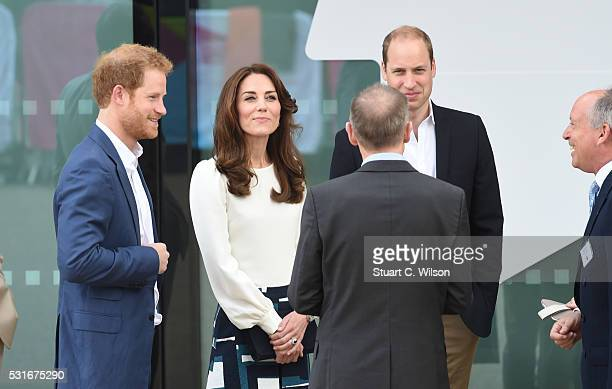 Prince William Duke of Cambridge Catherine Duchess of Cambridge and Prince Harry arrive to attend the launch of Heads Together Campaign at Olympic...
