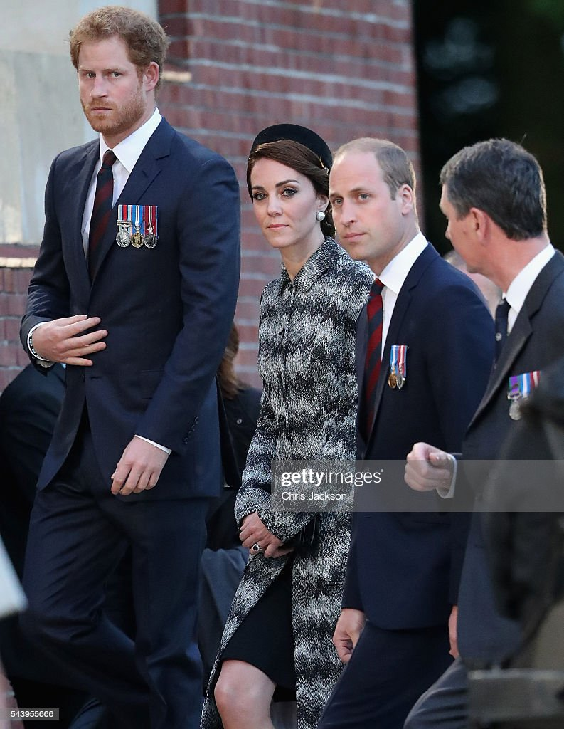 <a gi-track='captionPersonalityLinkClicked' href=/galleries/search?phrase=Prince+William&family=editorial&specificpeople=178205 ng-click='$event.stopPropagation()'>Prince William</a>, Duke of Cambridge, Catherine, Duchess of Cambridge and <a gi-track='captionPersonalityLinkClicked' href=/galleries/search?phrase=Prince+Harry&family=editorial&specificpeople=178173 ng-click='$event.stopPropagation()'>Prince Harry</a> take part in a vigil at Thiepval Memorial to the Missing of the Somme during Somme Centenary Commemorations on June 30, 2016 in Thiepval, France.