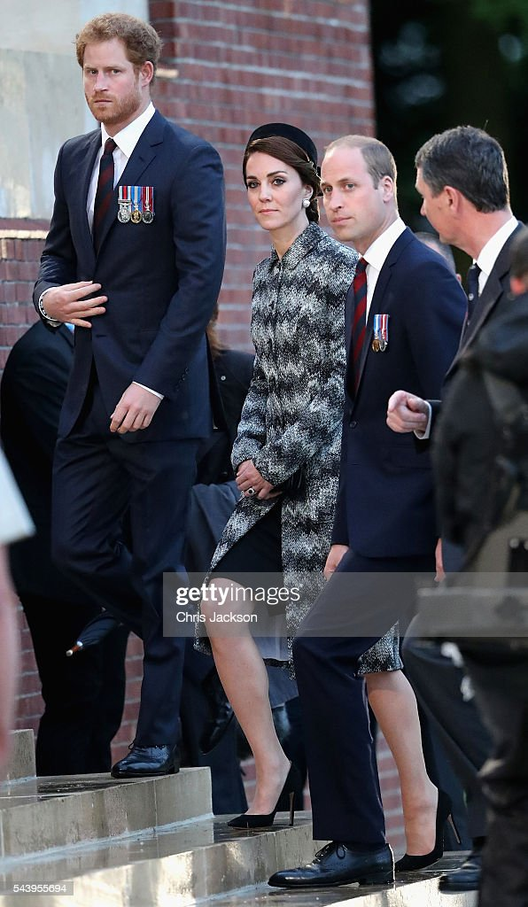 Prince William, Duke of Cambridge, Catherine, Duchess of Cambridge and Prince Harry take part in a vigil at Thiepval Memorial to the Missing of the Somme during Somme Centenary Commemorations on June 30, 2016 in Thiepval, France.