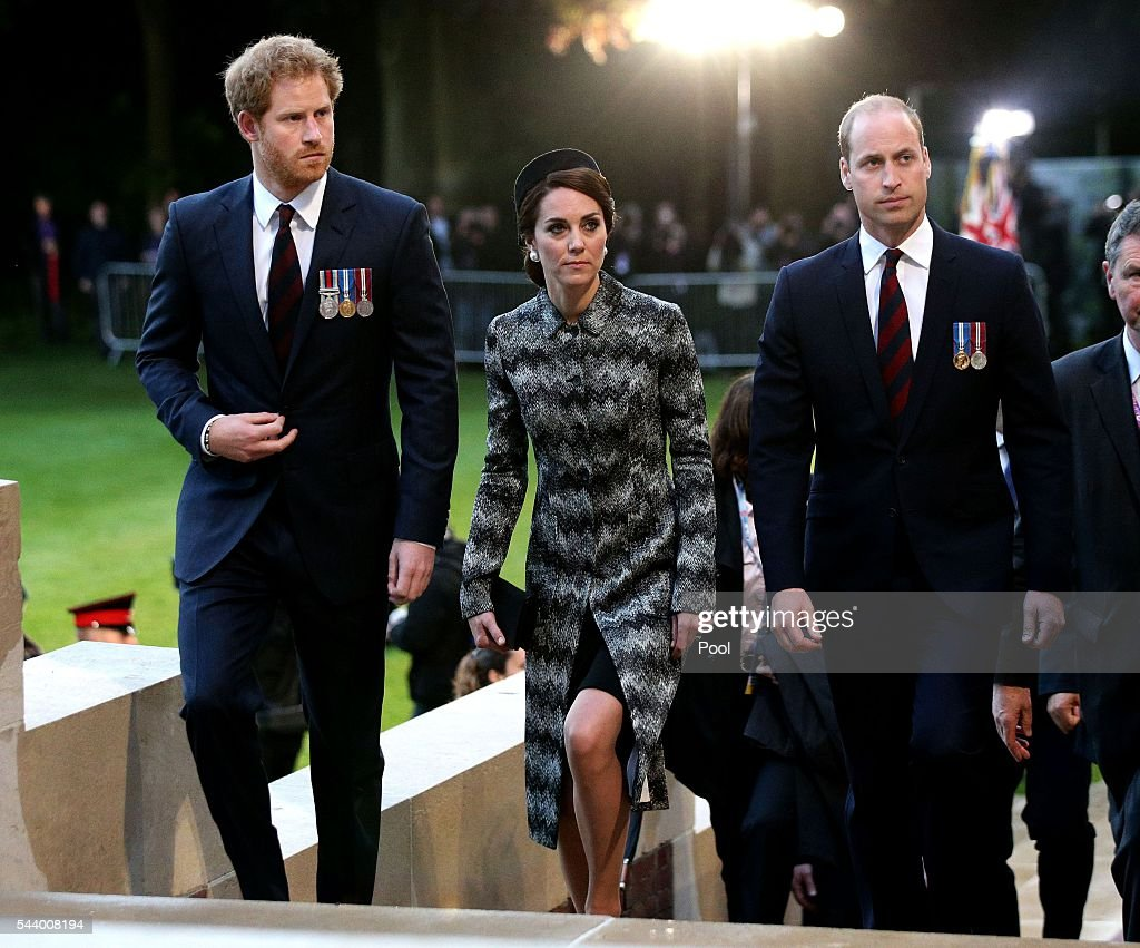 <a gi-track='captionPersonalityLinkClicked' href=/galleries/search?phrase=Prince+William&family=editorial&specificpeople=178205 ng-click='$event.stopPropagation()'>Prince William</a>, Duke of Cambridge, Catherine, Duchess of Cambridge and <a gi-track='captionPersonalityLinkClicked' href=/galleries/search?phrase=Prince+Harry&family=editorial&specificpeople=178173 ng-click='$event.stopPropagation()'>Prince Harry</a> attend part of a military-led vigil to commemorate the 100th anniversary of the beginning of the Battle of the Somme at the Thiepval memorial to the Missing in June 30, 2016 in Thiepval, France. The event is part of the Commemoration of the Centenary of the Battle of the Somme at the Commonwealth War Graves Commission Thiepval Memorial in Thiepval, France, where 70,000 British and Commonwealth soldiers with no known grave are commemorated.