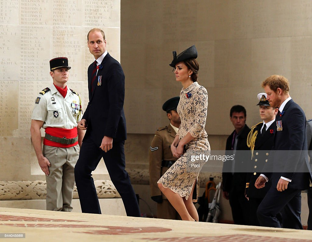 <a gi-track='captionPersonalityLinkClicked' href=/galleries/search?phrase=Prince+William&family=editorial&specificpeople=178205 ng-click='$event.stopPropagation()'>Prince William</a>, Duke of Cambridge, Catherine, Duchess of Cambridge and <a gi-track='captionPersonalityLinkClicked' href=/galleries/search?phrase=Prince+Harry&family=editorial&specificpeople=178173 ng-click='$event.stopPropagation()'>Prince Harry</a> attend a service to mark the 100th anniversary of the beginning of the Battle of the Somme at the Thiepval memorial to the Missing on July 1, 2016 in Thiepval, France. The event is part of the Commemoration of the Centenary of the Battle of the Somme at the Commonwealth War Graves Commission Thiepval Memorial in Thiepval, France, where 70,000 British and Commonwealth soldiers with no known grave are commemorated.