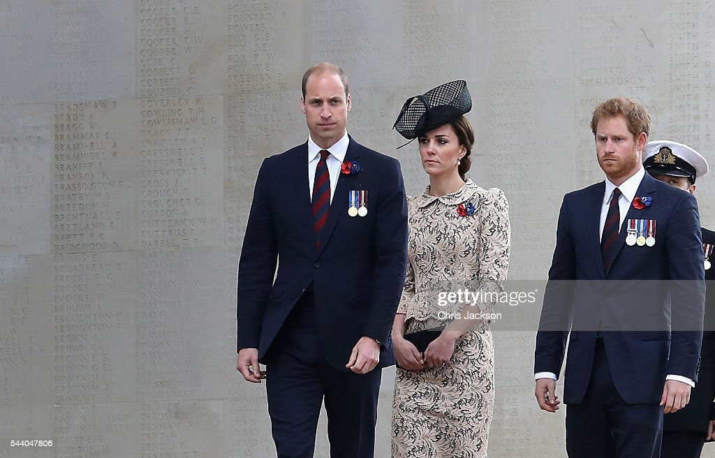Prince William, Duke of Cambridge, Catherine, Duchess of Cambridge and Prince Harry walk past names of the missing on Thiepval Memorial during Somme Centenary Commemorations on July 1, 2016 in Thiepval, France. Today marks exactly 100 years since the beginning of the battle of the Somme.