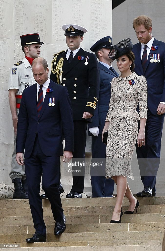 <a gi-track='captionPersonalityLinkClicked' href=/galleries/search?phrase=Prince+William&family=editorial&specificpeople=178205 ng-click='$event.stopPropagation()'>Prince William</a>, Duke of Cambridge, Catherine, Duchess of Cambridge and <a gi-track='captionPersonalityLinkClicked' href=/galleries/search?phrase=Prince+Harry&family=editorial&specificpeople=178173 ng-click='$event.stopPropagation()'>Prince Harry</a> during Somme Centenary Commemorations on July 1, 2016 in Thiepval, France. Today marks exactly 100 years since the beginning of the battle of the Somme.