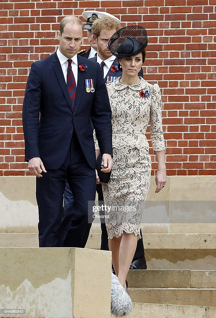 Prince William, Duke of Cambridge, Catherine, Duchess of Cambridge and Prince Harry during Somme Centenary Commemorations on July 1, 2016 in Thiepval, France. Today marks exactly 100 years since the beginning of the battle of the Somme.