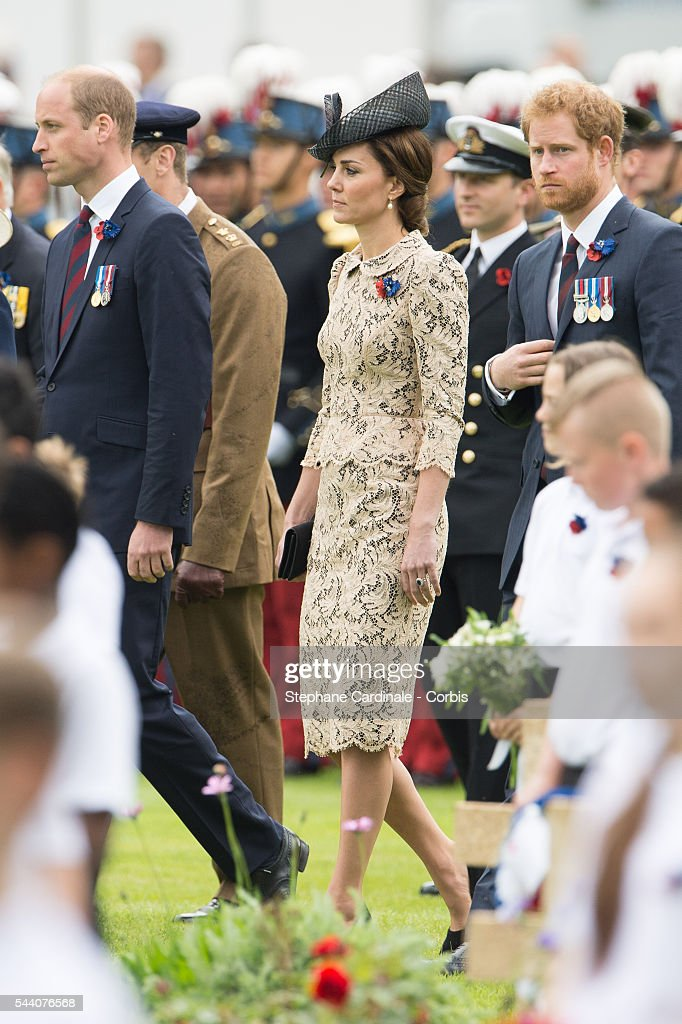 Prince William, Duke of Cambridge, Catherine, Duchess of Cambridge and Prince Harry during the Commemoration of the Centenary of the Battle of the Somme at the Commonwealth War Graves Commission Thiepval Memorial on July 1, 2016 in Thiepval, France.