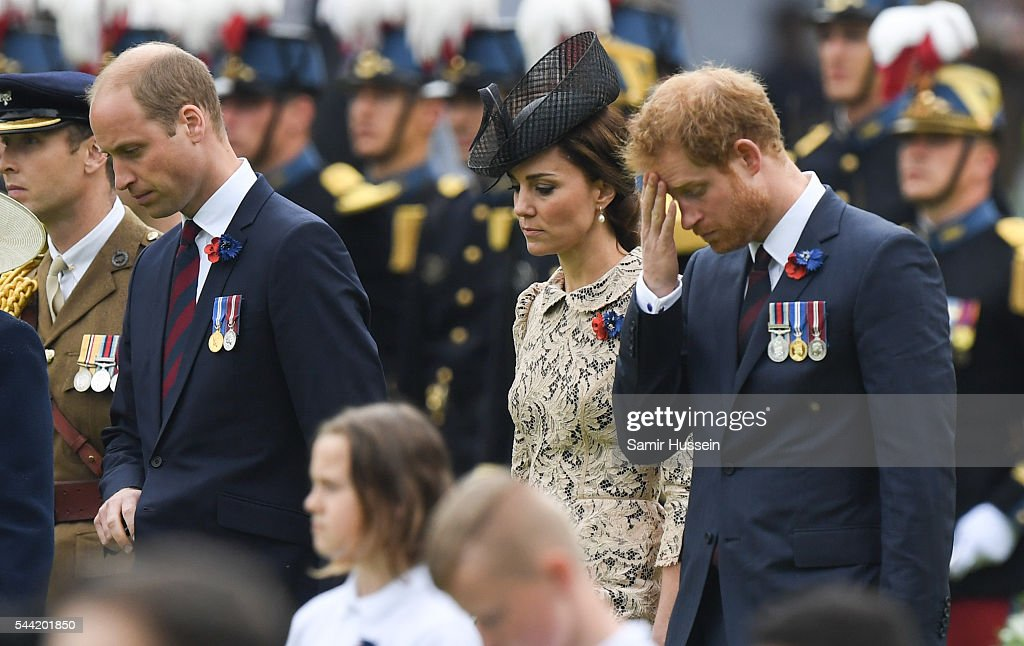 <a gi-track='captionPersonalityLinkClicked' href=/galleries/search?phrase=Prince+William&family=editorial&specificpeople=178205 ng-click='$event.stopPropagation()'>Prince William</a>, Duke of Cambridge , Catherine, Duchess of Cambridge and <a gi-track='captionPersonalityLinkClicked' href=/galleries/search?phrase=Prince+Harry&family=editorial&specificpeople=178173 ng-click='$event.stopPropagation()'>Prince Harry</a> attend the commemoration of the Battle of the Somme at the Commonwealth War Graves Commission Thiepval Memorial on July 1, 2016 in Thiepval, France.
