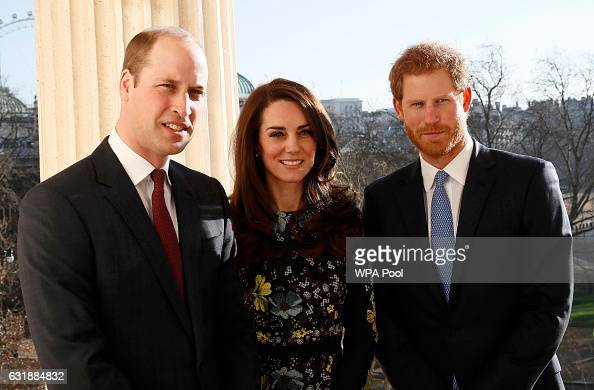 Prince William Duke of Cambridge Catherine Duchess Of Cambridge and Prince Harry during an event to announce plans for Heads Together ahead of the...