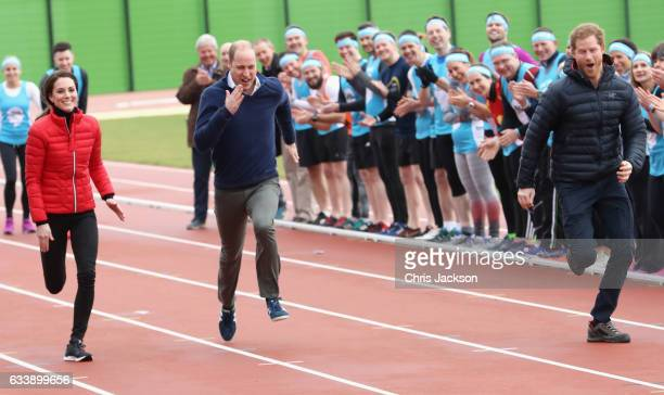 Prince William Duke of Cambridge Catherine Duchess of Cambridge and Prince Harry race as they join Team Heads Together at a London Marathon Training...