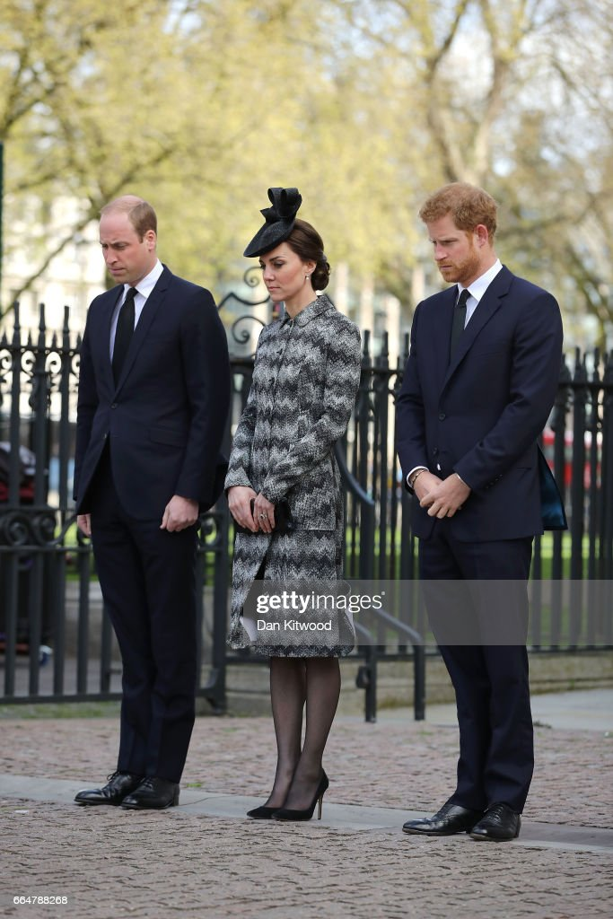 Prince William, Duke of Cambridge, Catherine, Duchess of Cambridge and Prince Harry attends the Service of Hope at Westminster Abbey on April 5,2017 in London, United Kingdom. The multi-faith Service of Hope was held for the four people killed when Khalid Masood committed an act of terror in Westminster on Wednesday March 22. Survivors, bereaved families and members of the emergency services joined The Duke and Duchess of Cambridge, Prince Harry, the Home Secretary, Amber Rudd and London Mayor, Sadiq Khan, in the congregation.