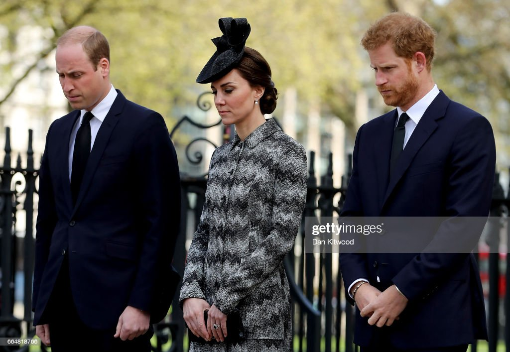 Prince William, Duke of Cambridge, Catherine, Duchess of Cambridge and Prince Harry attend the Service of Hope at Westminster Abbey on April 5,2017 in London, United Kingdom. The multi-faith Service of Hope was held for the four people killed when Khalid Masood committed an act of terror in Westminster on Wednesday March 22. Survivors, bereaved families and members of the emergency services joined The Duke and Duchess of Cambridge, Prince Harry, the Home Secretary, Amber Rudd and London Mayor, Sadiq Khan, in the congregation.