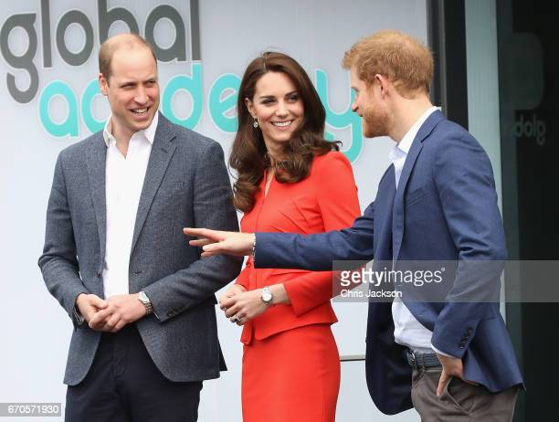 Prince William Duke of Cambridge Catherine Duchess of Cambridge and Prince Harry depart after attending the official opening of The Global Academy in...