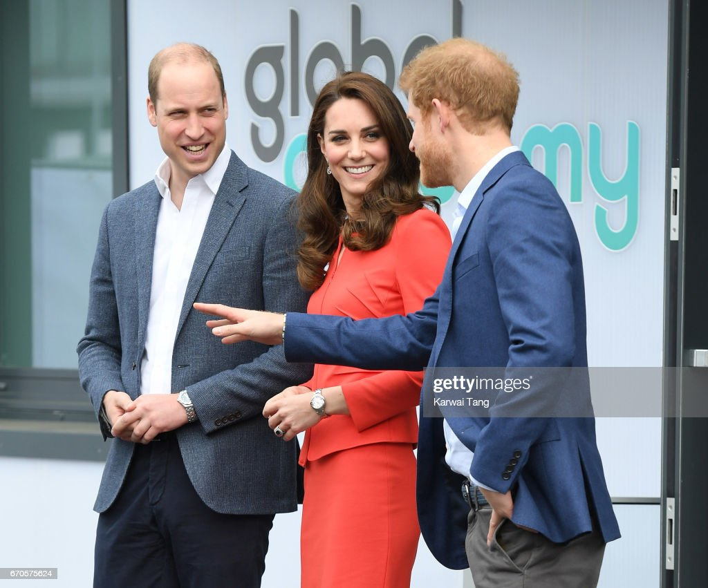 Prince William, Duke of Cambridge, Catherine, Duchess of Cambridge and Prince Harry attend the official opening of The Global Academy in support of Heads Together at The Global Academy on April 20, 2017 in Hayes, England.