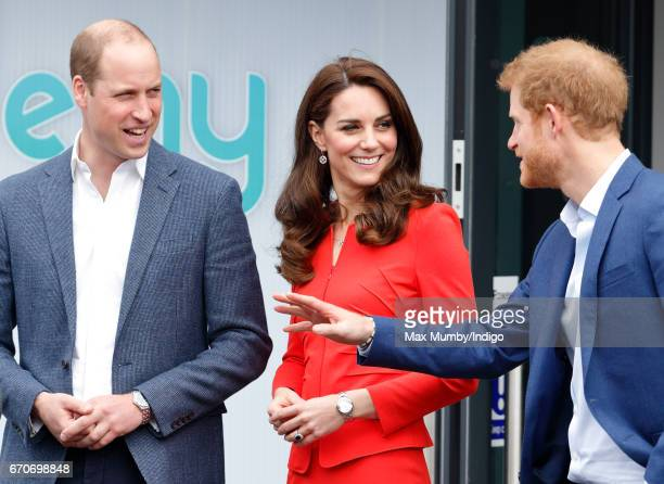 Prince William Duke of Cambridge Catherine Duchess of Cambridge and Prince Harry attend the official opening of The Global Academy in support of...