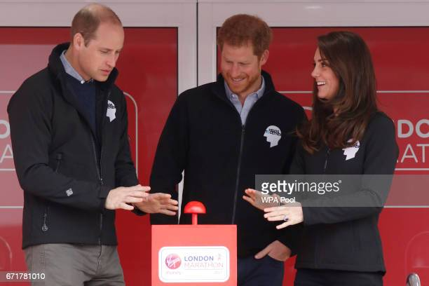 Prince William Duke of Cambridge Catherine Duchess of Cambridge and Prince Harry officially start the The Virgin Money London Marathon 2017 on April...