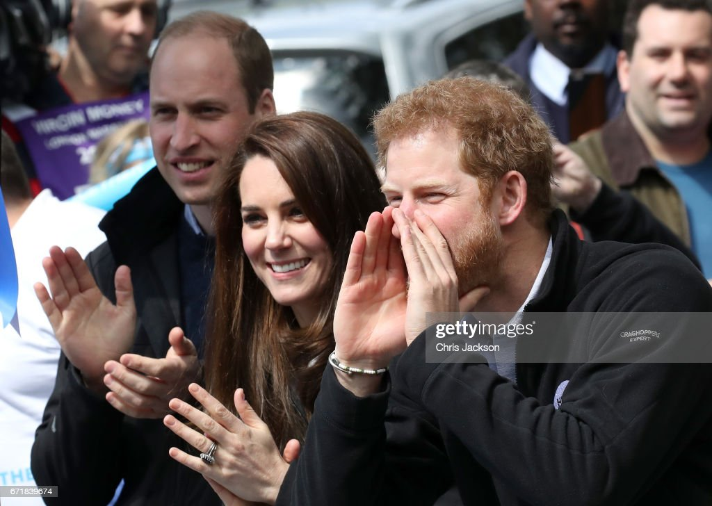 Prince William, Duke of Cambridge, Catherine, Duchess of Cambridge and Prince Harry cheer on runners during the 2017 Virgin Money London Marathon on April 23, 2017 in London, England. The Duke and Duchess of Cambridge and Prince Harry, are spearheading Heads Together, in partnership with eight leading mental health charities, that are tackling stigma, raising awareness, and providing vital help for people with mental health problems.