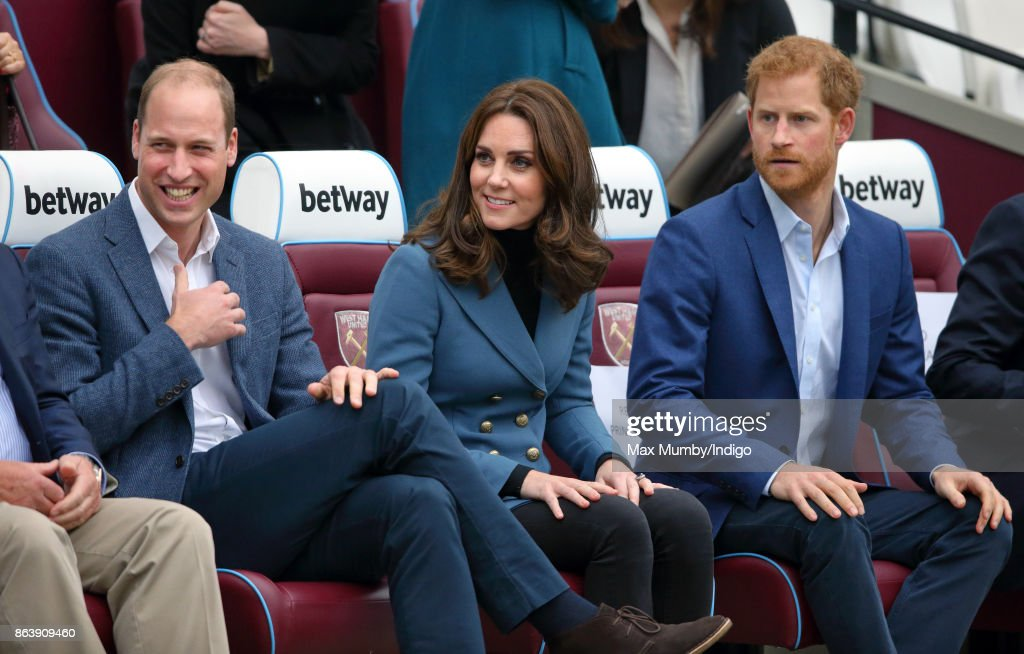 Prince William, Duke of Cambridge, Catherine, Duchess of Cambridge and Prince Harry attend the Coach Core graduation ceremony for more than 150 Coach Core apprentices at The London Stadium on October 18, 2017 in London, England.