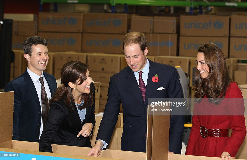 Prince William, Duke of Cambridge (2nd R), Catherine, Duchess of Cambridge (R) Crown Princess Mary of Denmark (2nd L) and Frederik, Crown Prince of Denmark (L) visit the UNICEF Global Supply Centre on November 2, 2011 in Copenhagen, Denmark. The visit is to help maintain the spotlight on the ongoing humanitarian crisis in East Africa, which has left hundreds of thousands of children severely malnourished and at risk of starving to death unless they receive urgent help. The huge supply centre sources supplies packs and distributes the food, water, vaccines and emergency medical kits for children around the globe.