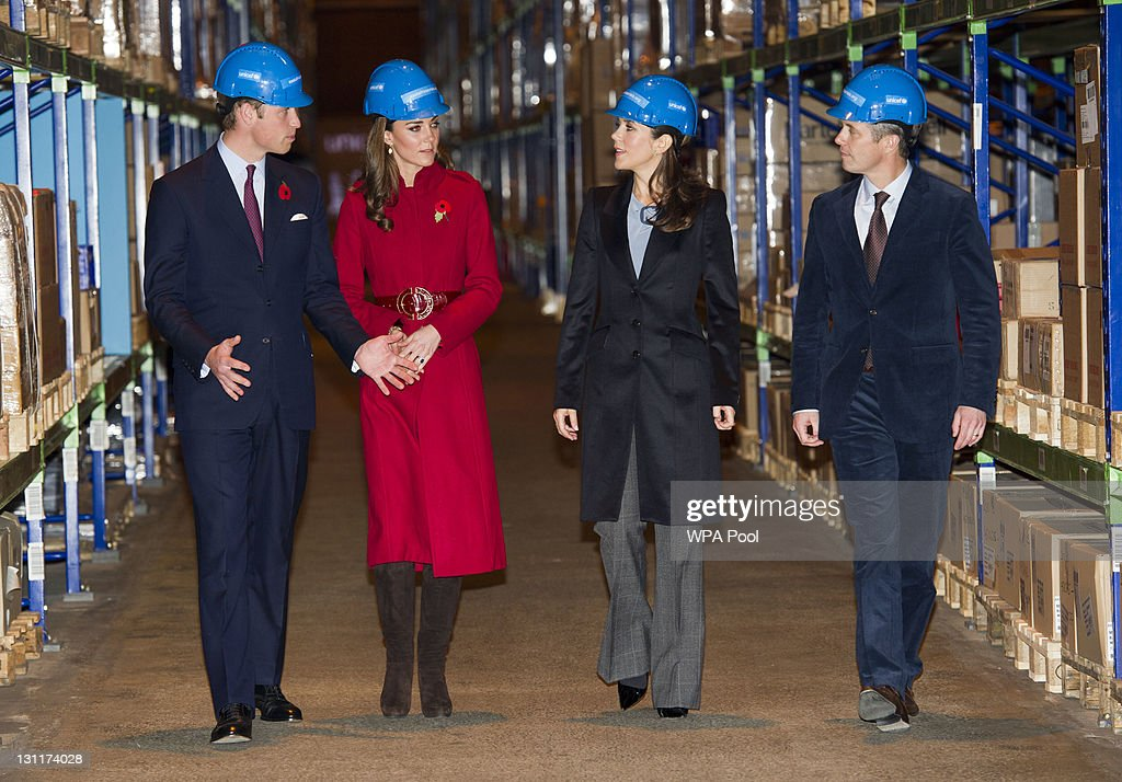 Prince William, Duke of Cambridge, Catherine, Duchess of Cambridge Crown Princess Mary of Denmark and Crown Prince Frederik of Denmark during a visit to the UNICEF Emergency Supply Centre on November 2, 2011 in Copenhagen, Denmark. Catherine, Duchess of Cambridge and Prince William, Duke of Cambridge visited the centre to view efforts to distribute emergency food and medical supplies to eastern Africa where severe food shortages are affecting more than 13 million people.